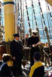 Photo of officers on the barque James Craig training the crew