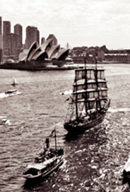 Photo of Sydney Heritage Fleet vessels in front of the Sydney Opera House