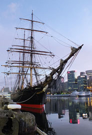 Photo of the tall ship James Craig alongside Wharf 7