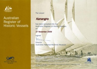 Kanangra - Australian Register of Historic Vessels since 2009