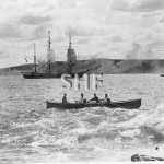 Butcher boat c. 1900. Note tug and outbound tow. SHF Coll.