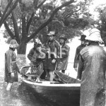 Butcher boat in flood use at Grafton 1967. SHF Coll.