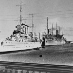 CANBERRA HMAS, with convoy in Fremantle 1940. SHF Coll.