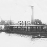 GLAUCUS, suction dredge at work on river., c.1900. SHF Coll.