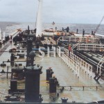 KIRKII tanker, with bow missing, July 1991. SHF Coll.