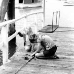 Lavender Bay Wharf, fishing. 1968. Proof 151-8A