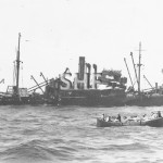 MACUMBA 1919, sinking Sept 1938. Note AA guns.SHF Coll.