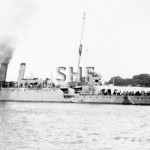 MELBOURNE HMAS, 1913-1928. 1920s with Daley's tug. SHF Coll.
