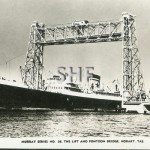 MELBOURNE STAR 1956, passing Hobart floating bridge. postca