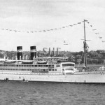 MERKUR 1924-1953, passing HMAS ALBATROSS (right).SHF Coll.