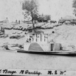 Paddlesteamer, unknown, loading wool on Darling River.SHF Co