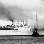 STRATHNAVER 1931-1962, outbound with tug WONGA, postwar.SHF