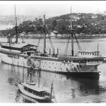 TINGIRA 1866, ex SOBRAON, Berrys Bay, 1940s with steam launc