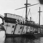 TINGIRA ex HMAS, 1866 ex SOBRAON, being stripped 1930s. SH