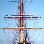 Bow view with some sails bent