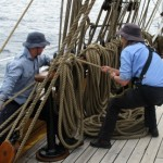 Fiona and Michael wrestling upper topsail brace