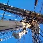 Looking up fore mast