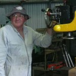 SHF Heritage Docks & Workshop Bernie Norrington drilling a knee bracket for the warataj stoke hull