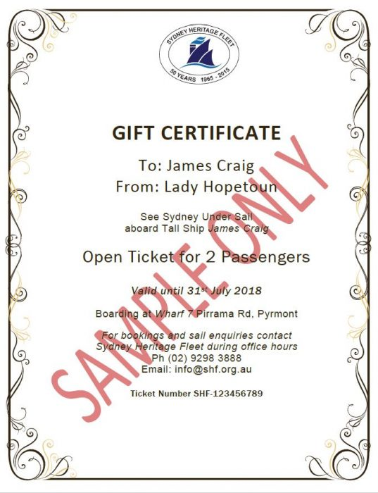 Gift Certificate Sample Only James Craig