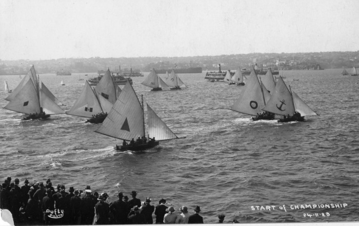 18 footers racing for Championships, 24 November 1923 taken from Clark Island, Sydney Harbour.