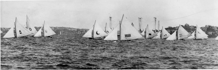 18 footers racing in Championship, 24 November 1923 near Clark Island on Sydney Harbour.