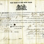 GAY, W. Pilotage Certificate Sydney, Newcastle, Twofold-Bay