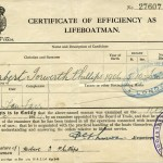 PHILLIPS, H.I. Certificate of Efficiency as Lifeboatman