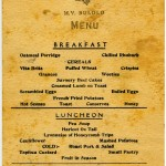 Menu on BULOLO for Tuesday, 20 July 1954