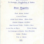 Menu from TSMV MANOORA for  Sunday, 9 May 1937.