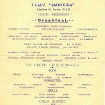 Menu from TSMV MANOORA for  Friday, 20 August 1937.