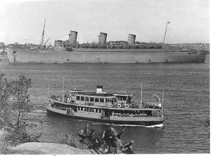 QUEEN MARY, 1940 in Sydney Harbour, with ferry  LADY SCOTT